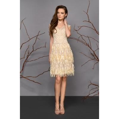 Rochie de seara cu fusta din franjuri